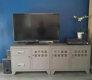 Meuble Tv Industriel Bois Metal : meuble tv bois m tal industriel taupe ~ Teatrodelosmanantiales.com Idées de Décoration