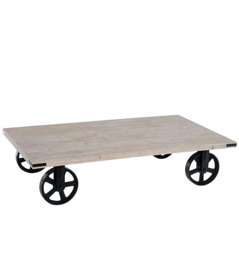 table basse bois metal table basse sur roulettes en m 233 tal et bois style industriel 145cm wadiga