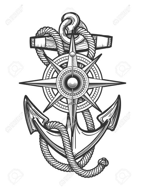 Anchor with ropes and Nautical vintage compass drawn in engraving style. Vector illustration