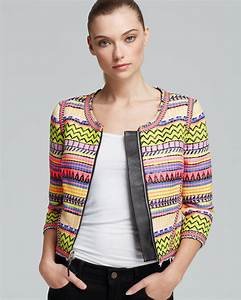 L Agence Size Chart Milly Jacket Couture Raffia Jacquard Lyst