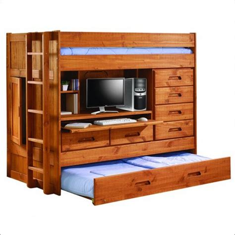 desk with lots of storage twin loft bunk bed w trundle bed rear closet desk and
