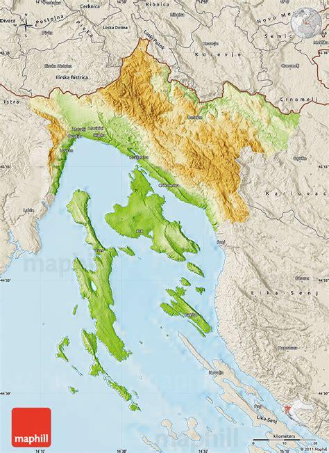 physical map  primorje gorski kotar shaded relief