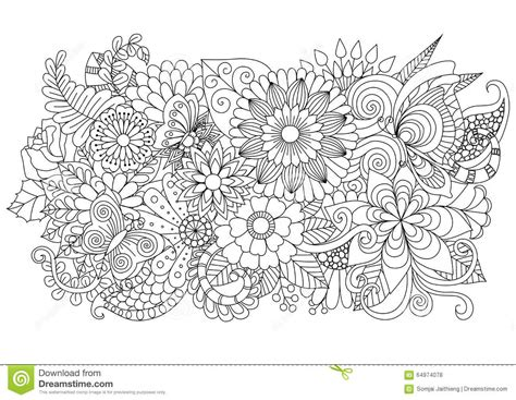 Coloring Background by Zentangle Floral Background For Coloring Page
