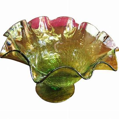 Glass Crackled Blown Ruffled Vase Edge Unusual