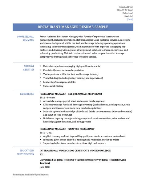 Restaurant Supervisor Resume Exles by Restaurant Manager Resume Sle