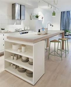 deco salon amenagement petite cuisine de style With idee deco cuisine avec plateau bois scandinave