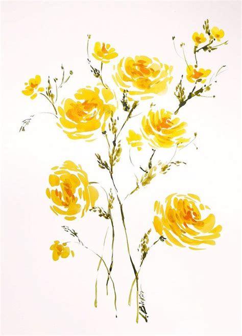 yellow flowers art original watercolor painting floral