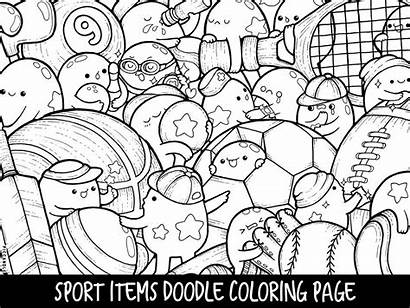 Coloring Kawaii Pages Printable Doodle Sport Adults