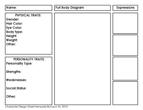 Character Template Character Profile Template Peerpex