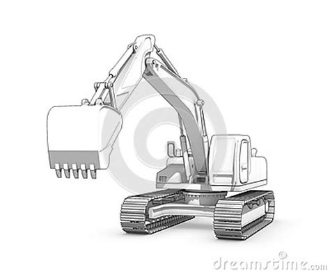drawing black  white sketch  excavator stock illustration image