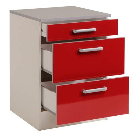 meuble bas de cuisine contemporain 60 cm 3 tiroirs blanc brillant jackie meuble de