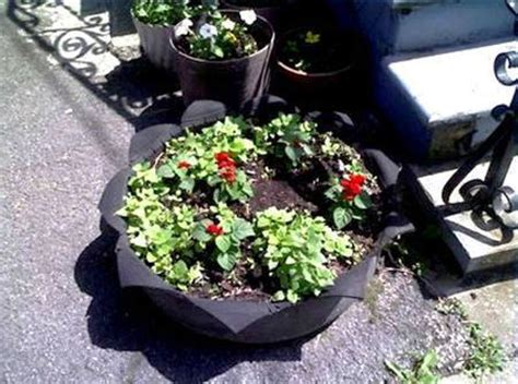 beautiful flower beds recycling  cars  tires