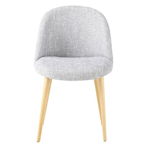 heathered light grey fabric vintage chair mauricette maisons du monde