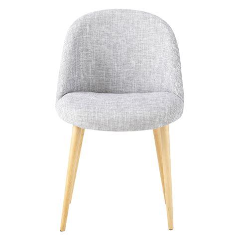 chaise vintage en tissu  bouleau massif gris clair chine mauricette maisons du monde
