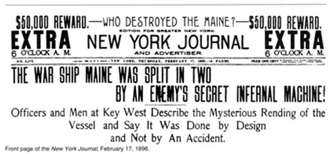 sinking of the uss maine yellow journalism american war ch 17
