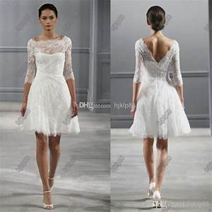 illusion bateau neck 3 4 sleeves monique lhuillier spring With knee length wedding dresses with sleeves
