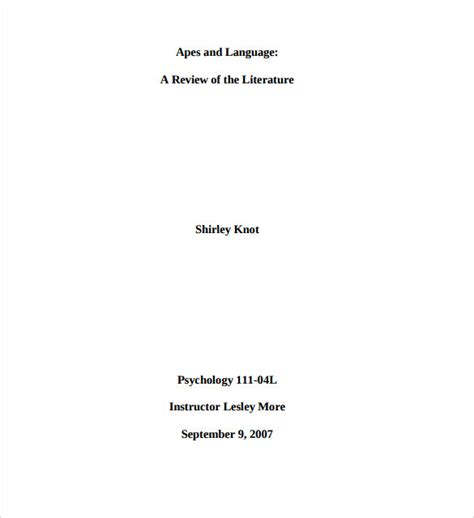 mla cover page template 7 mla cover page templates to sle templates