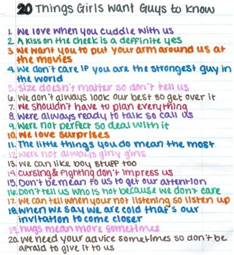 20 Things Girls Want Guys To Know By Keygo1 On Deviantart