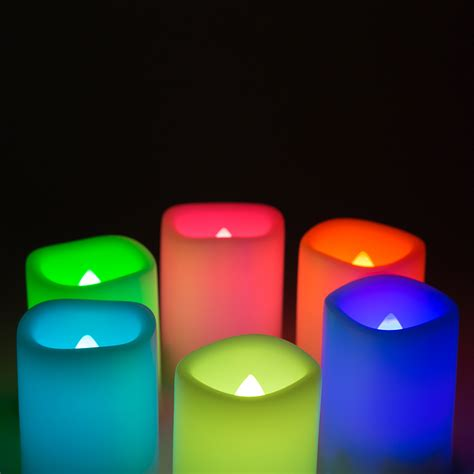 flickering led candle lights set of 6 colour changing flickering flameless led candle