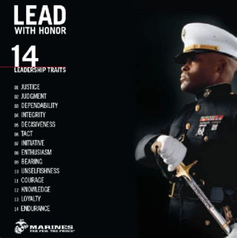 leadership traits lead  honor marine corps
