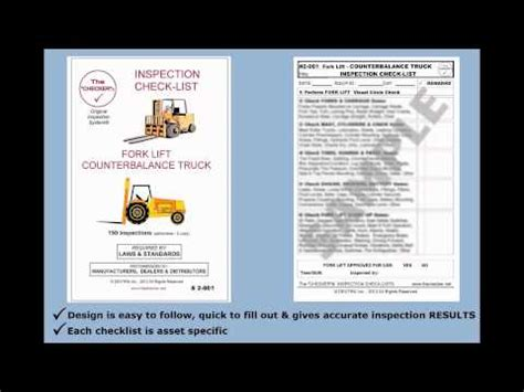 forklift inspection checklist counterbalance trucks