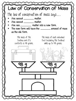 law  conservation  mass worksheets  mini