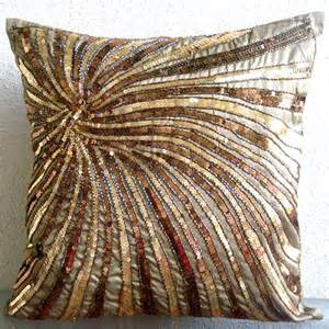 handmade sequins beaded spiral glitter pillows cover brown