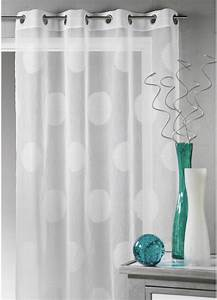 Voilage Blanc Et Gris : voilage en tamine gros pois blanc maldives taupe gris rose boudoir homemaison ~ Teatrodelosmanantiales.com Idées de Décoration