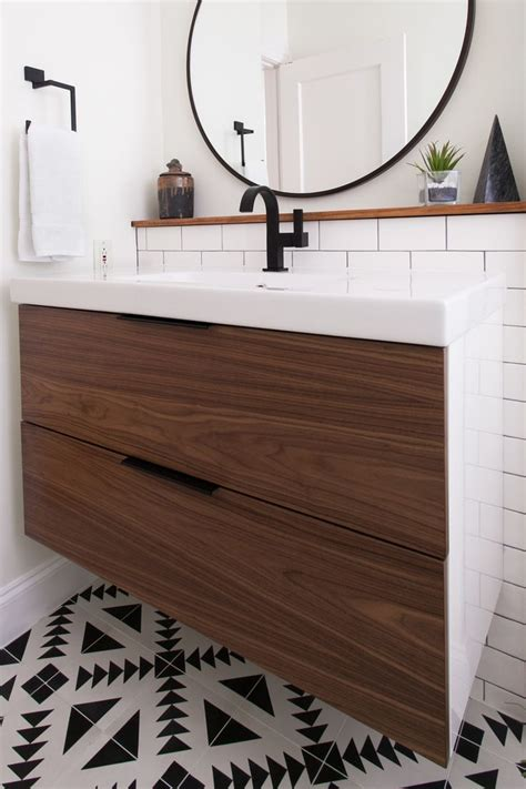 ikea vanity  custom walnut drawer fronts bathrooms