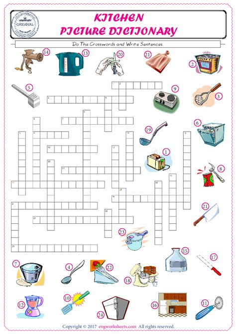 kitchen english worksheet  kids esl printable picture
