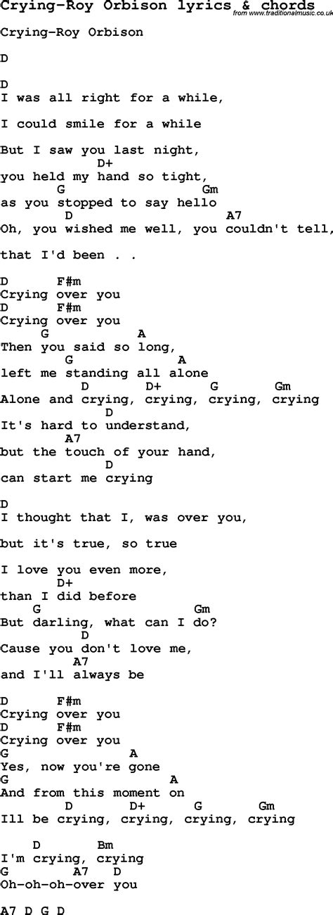 love song lyrics forcrying roy orbison  chords