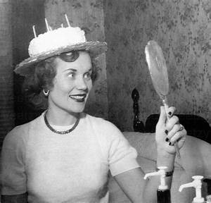 Digital Download 1950s Woman Happy Birthday Hat Party Funny