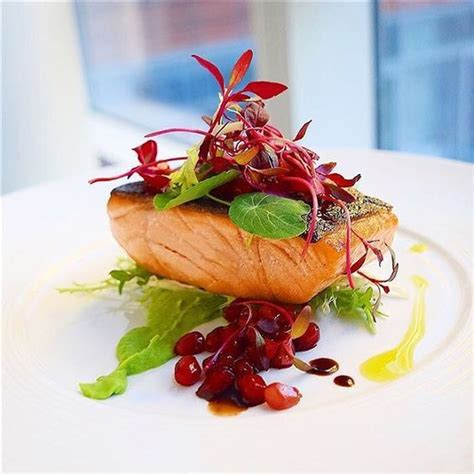 gastrique cuisine recipe on cookniche com herb salmon pomegranate gastrique and wasabi pea purée by gayleq