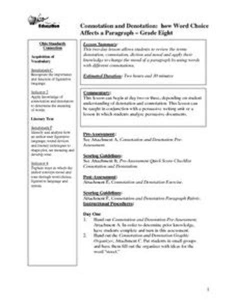 Connotation And Denotation 8th Grade Lesson Plan  Lesson Planet