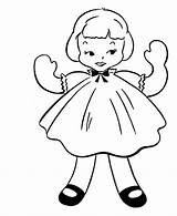 Coloring Doll Pages Simple Colouring Rag Dall Sheets Objects Activity Drawing Dolls Baby Paper Drawings Barbie Clip Books American Printable sketch template