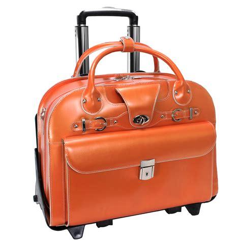 briefcase on wheels mcklein roseville 96640 orange leather fly through