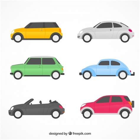 Flat Car Collection With Side View Vector