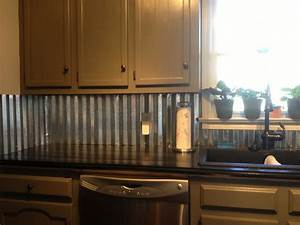Corrugated metal backsplash farmhouse chic pinterest for Corrugated tin kitchen backsplash