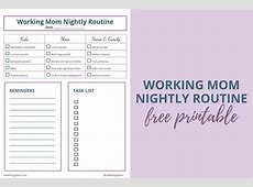 Working Mom Nightly Routine Printable Redefining Mom