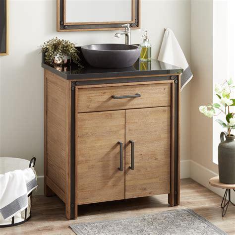 celebration vessel sink vanity rustic acacia bathroom