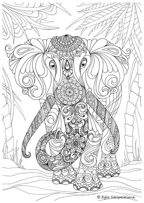 printable hard elephant coloring pages  adults everfreecoloringcom