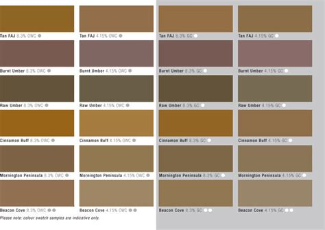 beige color chart with names pictures to pin on