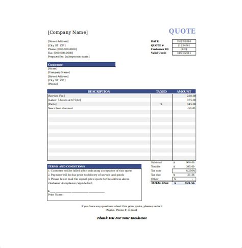 Free Quote Template by Quotation Templates 9 Free Word Excel Pdf Documents