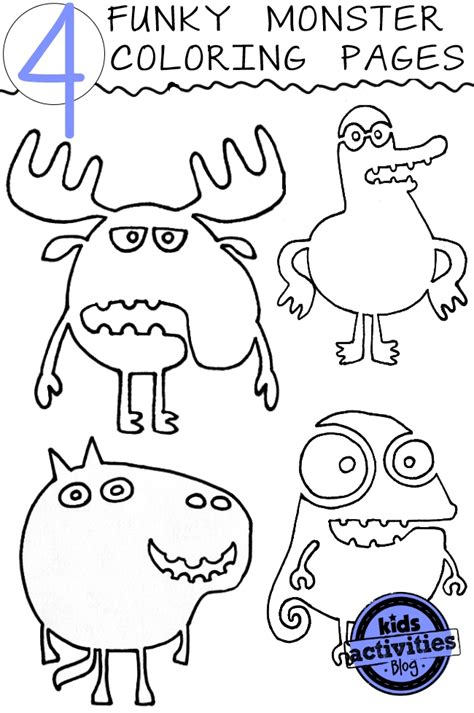 crazy funky monster coloring pages