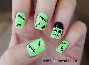 Frankenstein nails polish and pearls by jenny claire fox