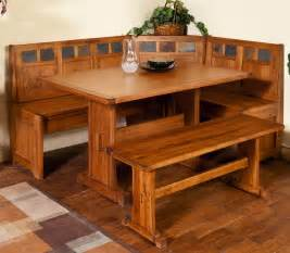 4 piece corner breakfast nook set rustic oak bench table