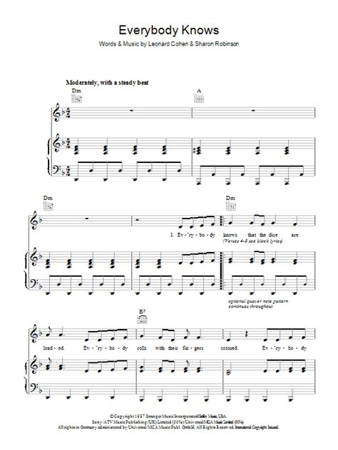 It went like this, when i grow up i wanna be a kid, i want to laugh, love, like i always did. Everybody Knows | Sheet Music Direct