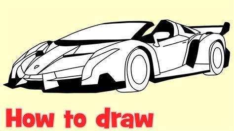 How To Draw A Car Lamborghini Veneno Roadster Step By Step
