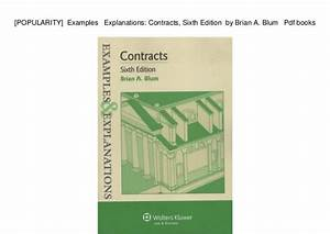 Brian Blum Contracts Examples And Explanations Pdf