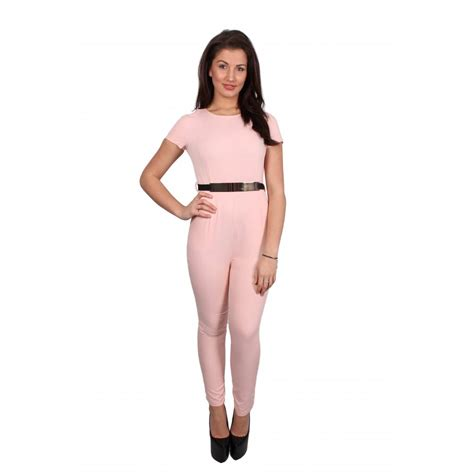 baby jumpsuit nyla baby pink cap sleeve jumpsuit with gold belt